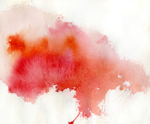 Red spot, watercolor abstract hand painted background