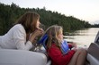 Mother And Daughter Boating, Lake Of The Woods, Ontario, Canada