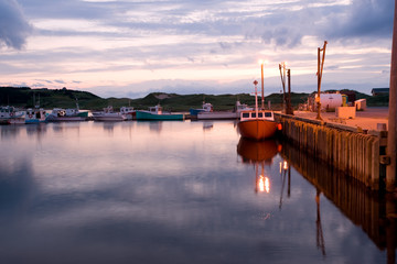 Boats in Inverness harbor, Cape Breton, Nova Scotia
