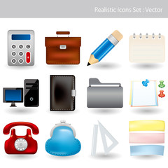 Realistic Icons Set