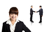 smiling business woman and Successful transaction poster
