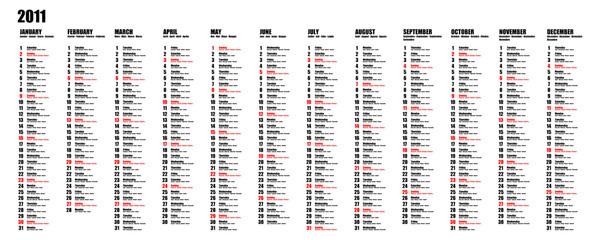 Calendario 2011 - Inglese, francese, tedesco, spagnolo, italiano