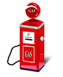 Ancient gas pump vector painted in bright red and white