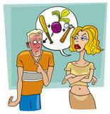 angry woman abuses ashamed man poster