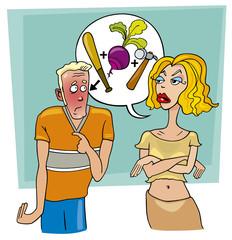 angry woman abuses ashamed man
