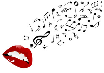 Illustration of red lips singing