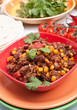 beef chili with beans, sweetcorn and coriander