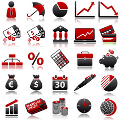 economic Red Icons