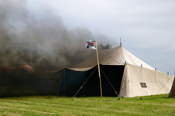 Burning army tent