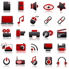 multimedia Red Icons