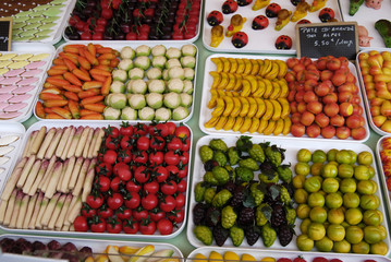 Sweets made like fruit and vegetables on French market