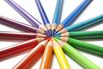 Color pencils in circle rainbow