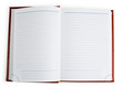 Open notebook isolated on the white background