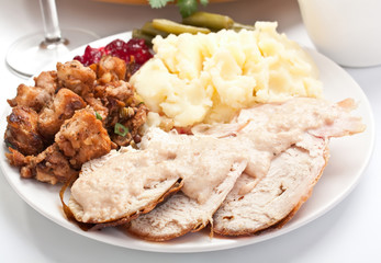 Sliced turkey breast with mashed potatoes and stuffing