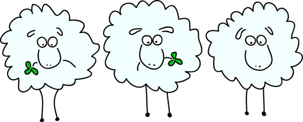 Three animated sheep chewing clover leaf
