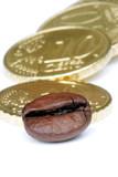 chicco di caffè con monete da 10 cent poster