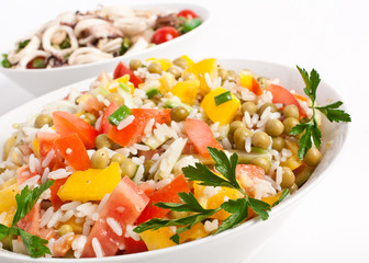 rice and seafood salads