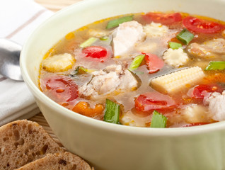 serving of chicken and vegetable soup