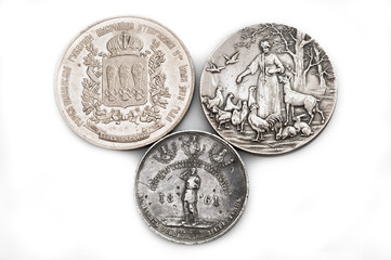 russian ancient medals on white background