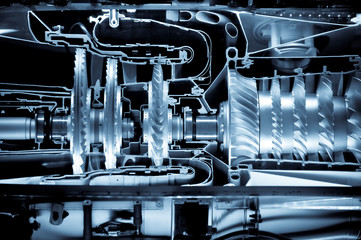 jet engine cutaway detail with a blue tint