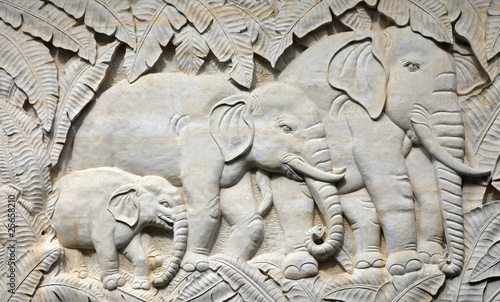 Bas-relief with the image Indian elephants