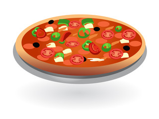 isolated tomato pizza on plate