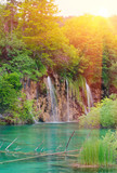 Waterfalls on sunset in national park. Plitvice, Croatia