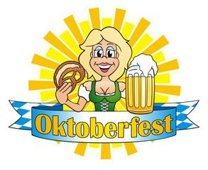Girl serving Beer on Oktoberfest