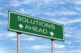 Solutions Ahead Road Sign Over Skyscape poster