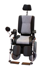 A Grey and Black Motorised Disability Wheelchair.