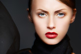 Fototapety Fashion woman with luxury make-up, sexy lips and black scarf