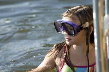 Teenage Girl With Swim Goggles