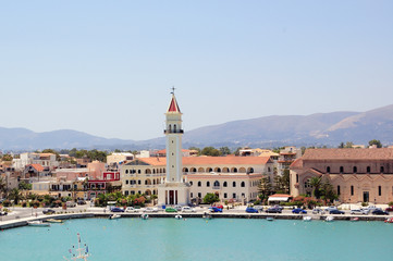 Panoramic view of the town of Zakynthos, Greece.