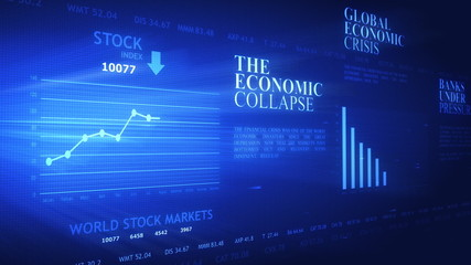 World business crisis headlines and charts on futuristic screen