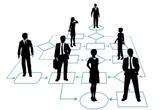 Business team solution in process management flowchart poster