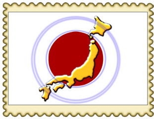 Japan map flag stamp