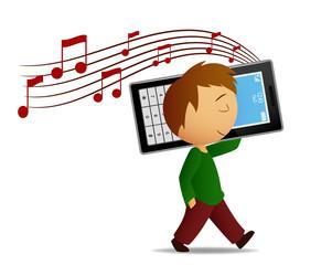 Boy listen music cell phone
