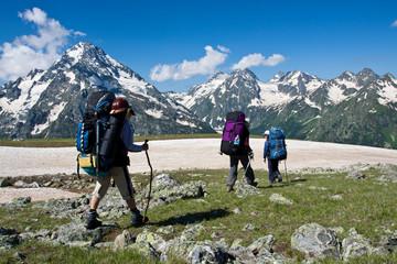 Hiker girls in mountain wally.