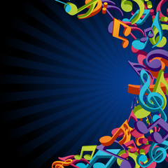 Colorful music background with fly 3d notes