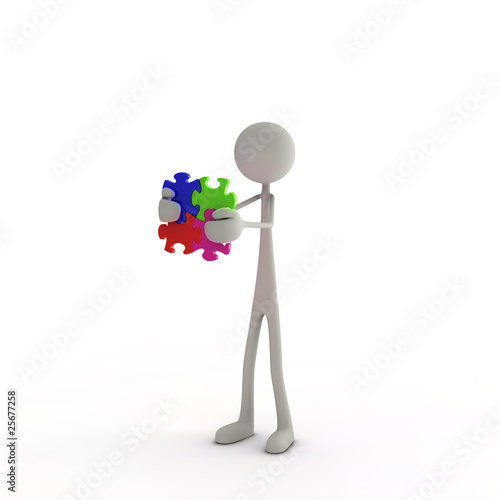 3D Figur mit Puzzleteilen