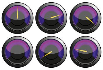 Set of purple speedometers, vector illustration