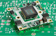 Leinwandbild Motiv microchip board with sensor