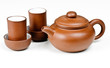 Clay tea pot and cups