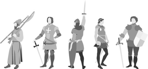 Vector set of 5 Knights (set four)