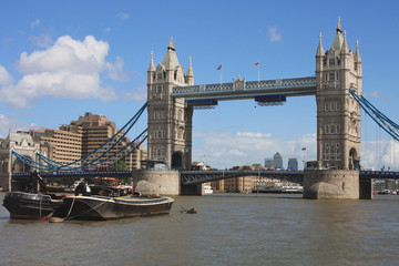 Tower Bridge in London, UK in a beautiful summer day