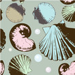 Seamless pattern with retro shells