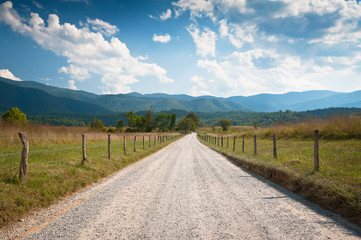 Rural Dirt Road Farm Landscape in Cades Cove TN fields