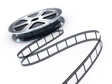 Movie films spool with film