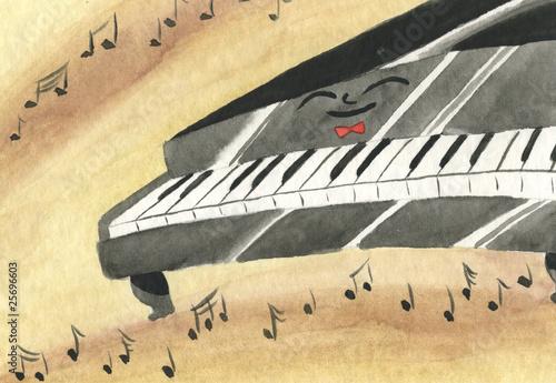 Pianoforte felice con note e musica