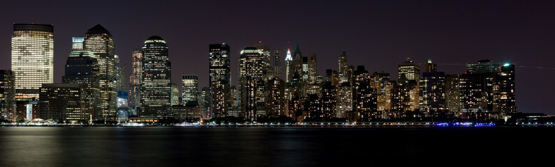 Financial District Manhattan at Night over Hudson